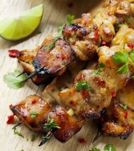 Thai chicken skewers marinated with chili, coriander or cilanto, and lime.